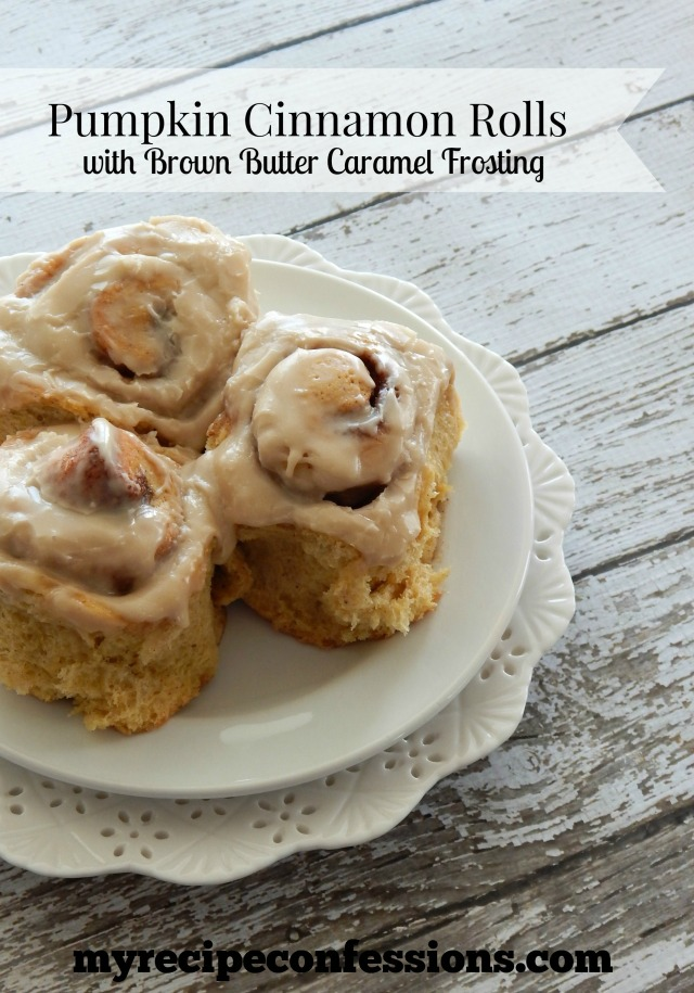 Pumpkin Cinnamon Rolls with Brown Butter Caramel Frosting