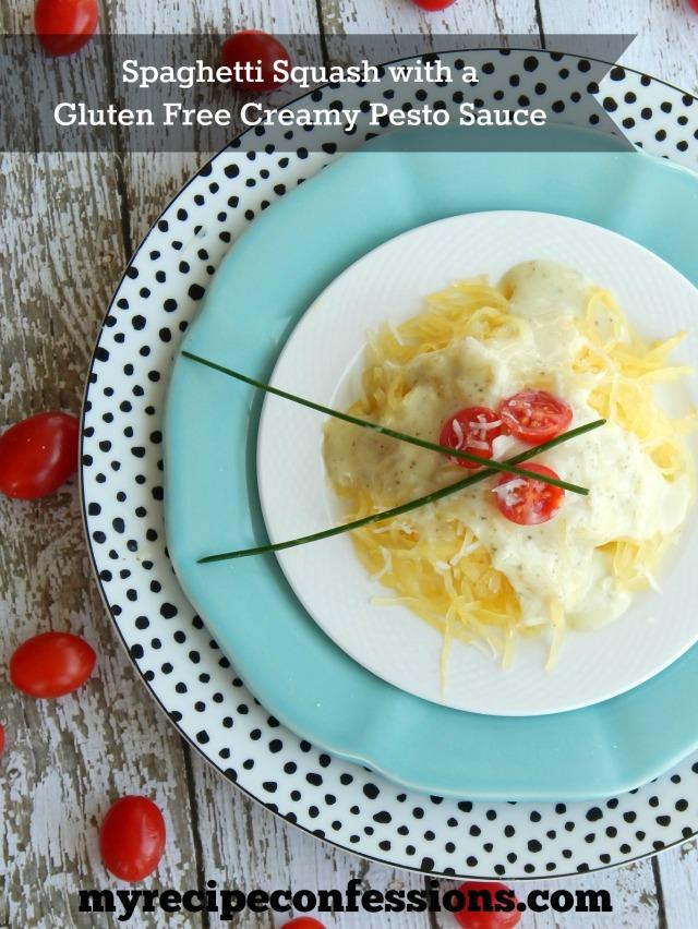 Spaghetti Squash with Gluten Free Creamy Pesto