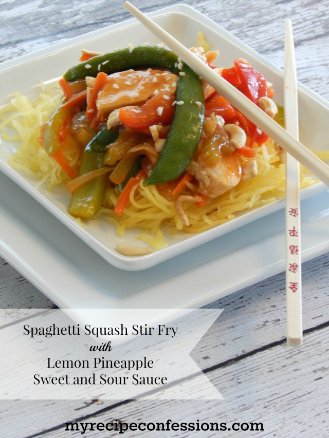 Spaghetti Squash Stir Fry with Lemon Pineapple Sweet and Sour Sauce